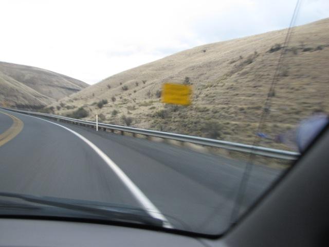 Da long downgrade; runaway truck ramp: 3 miles
