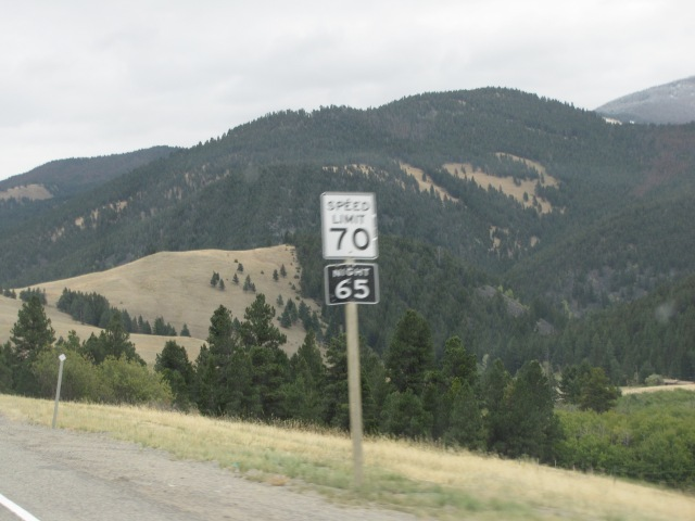 Two different speed limits.  Heading down from McDonald Pass viewpoint