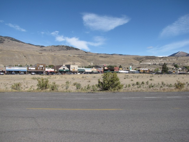 Looking back at Gardiner, Montana