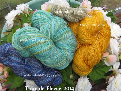 Tour de Fleece Spinning 1646 yards total